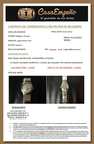 CasaEmpeño contract of Omega Constellation Chronometer Automatic Watch